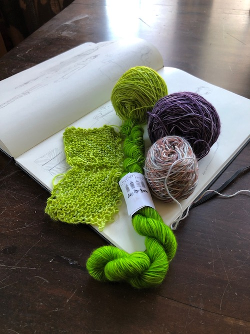 Lady Dye Yarns    singles in the swatching stage: that GREEN!