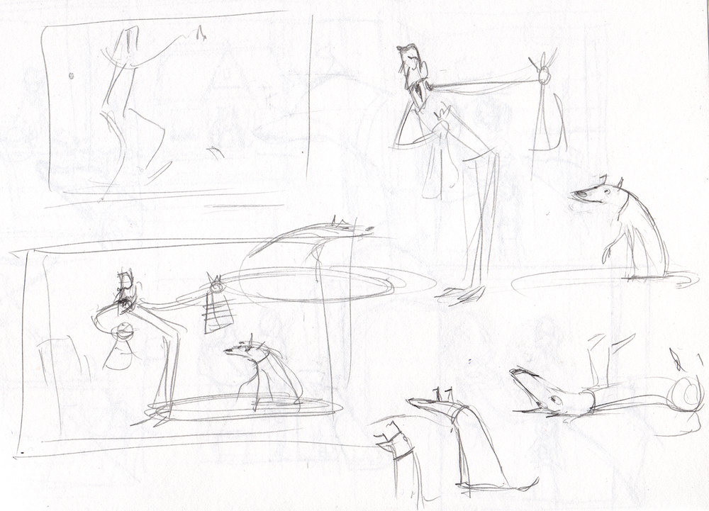 "First there are many ""thumbnail"" drawings made to figure things out. These are a few of them. (I thumbnail out the whole story before I start making any final illustrations.)"