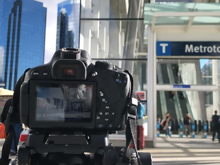 Production still of timelapse shot at Metrotown Skytrain Station.