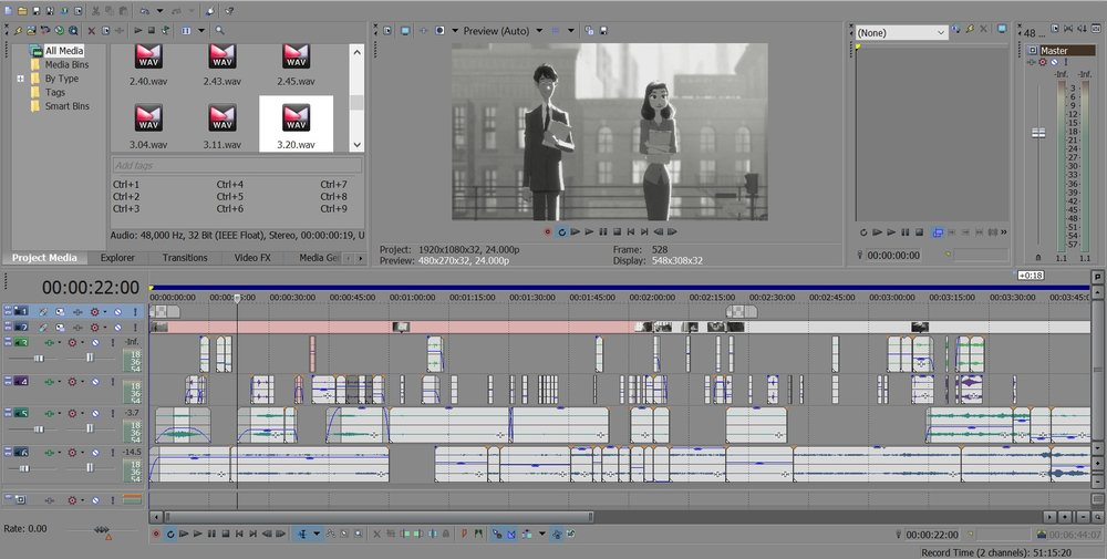 Workspace of sound design for sections of Paperman (2012).