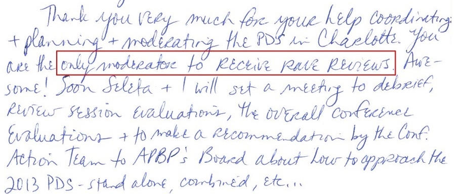 Thank you note following 2011 APBP Conference