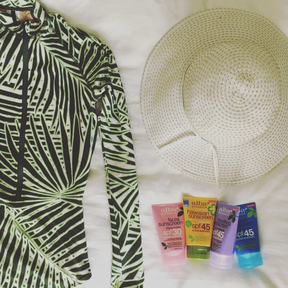One-piece, J.Crew- Sold out. Similar  Here ,  Here,   SPF Hat