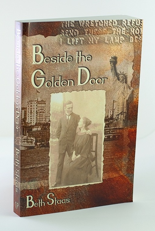 Beside the Golden Door, book cover with archival family photo, Stature of Liberty in the background.