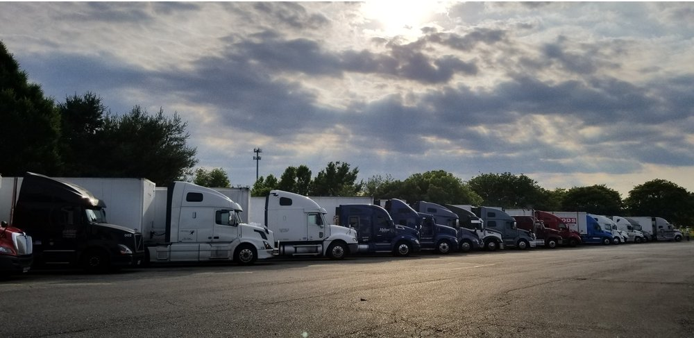View of the truck parking at Petro Truck Stop in Bordentown, New Jersey