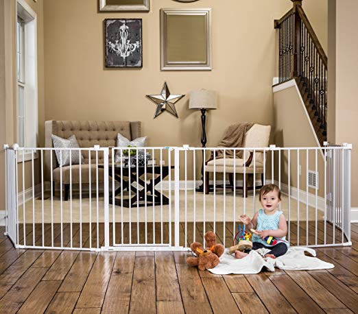 """Gates up to 192"""" wide - If you need to wrap around an extra wide entertainment station or a fireplace, this would be the gate to get. We used it for an extra wide entryway to keep the kids out of the kitchen area."""