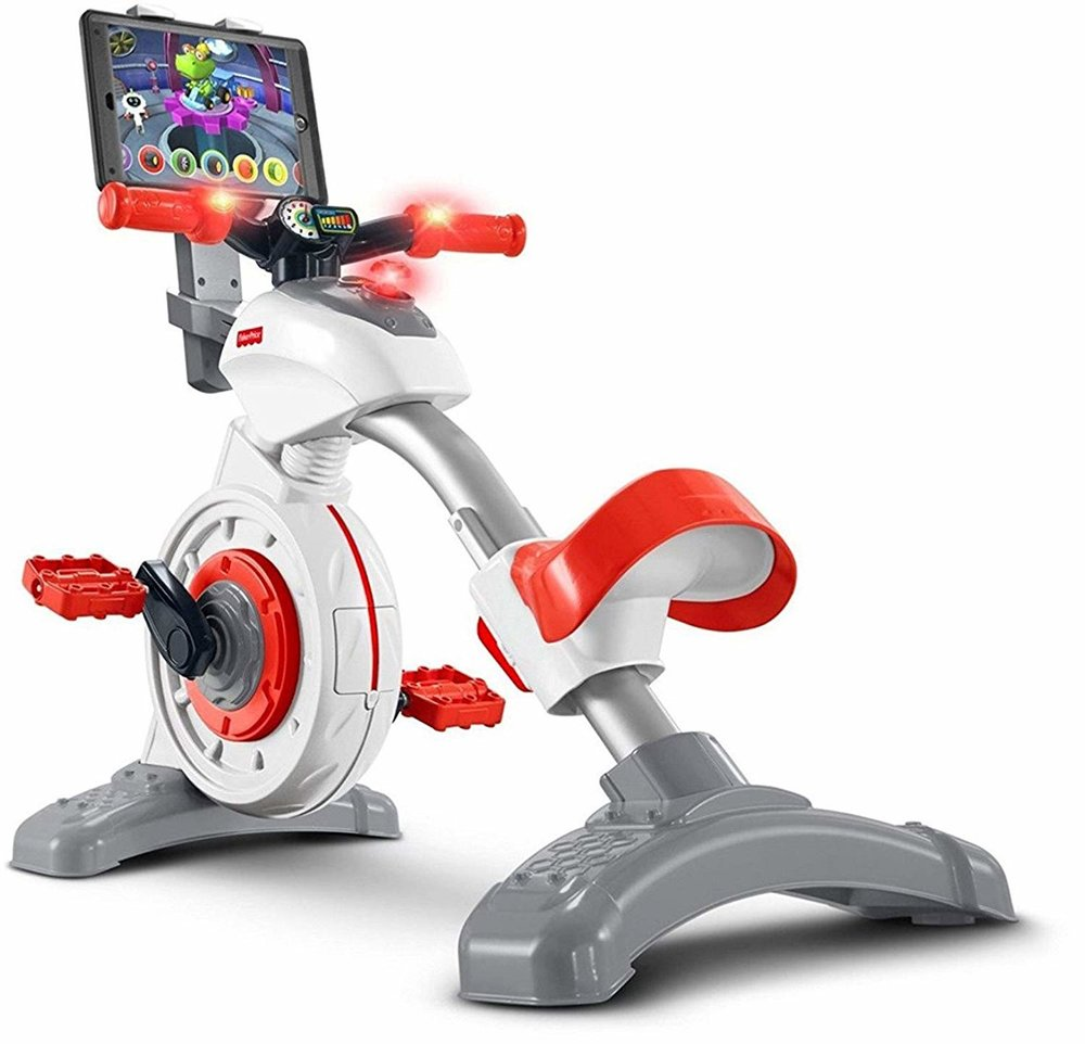 So, your kids going stir crazy indoors? - I've made obstacle courses at home with random boxes and stuff but this kids stationary bike is brilliant. If we had space in our home, we would have one. Here's its genius: the longer/harder the kids pedal, the more educational content/games they get to see on the iPad (not included). It's a big hit with the peloton moms I know.