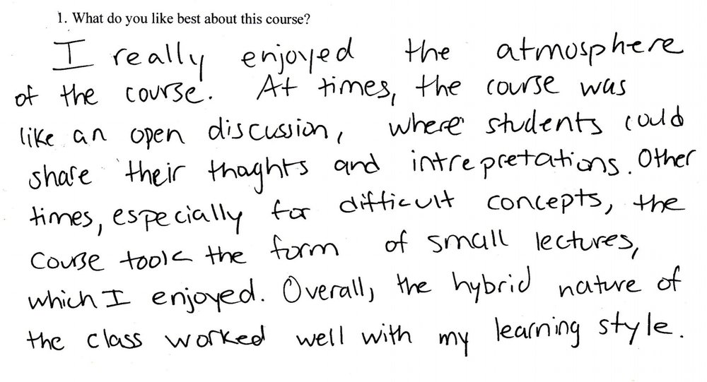 —Anonymous Student Feedback, Summer 2018 Course, Duke University