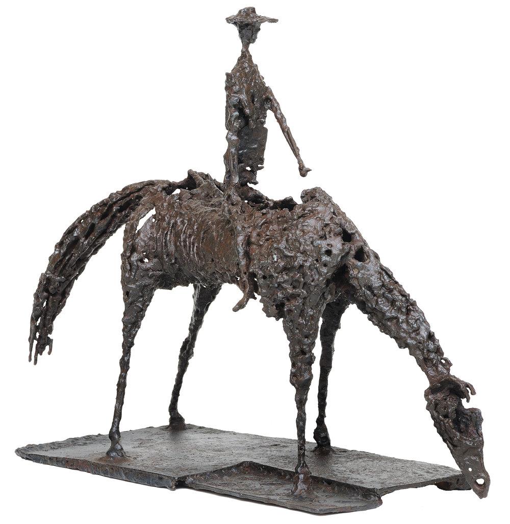 Horse and rider   aço soldado 42 X 56 cm