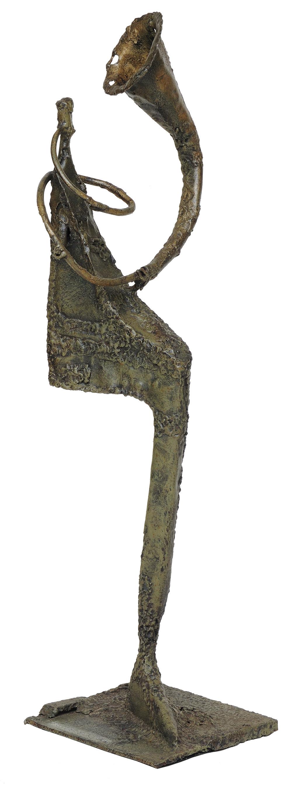 Man with horn      aço soldado  80 X 20 cm