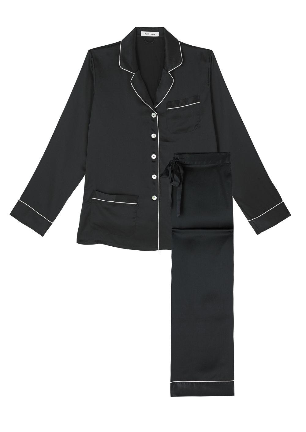 Olivia von Halle Coco Jet Black Pyjamas, Available at Oliva von Halle