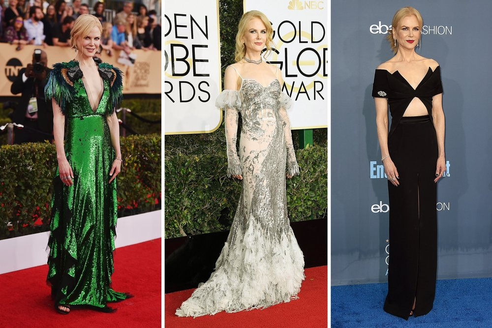 "- Nicole Kidman's strategy: Never play it safeBy BEE SHAPIRO(NY Times, 17 Feb 2017)""She's not going the safe road,"" said her stylist Julia von Boehm, pointing to the controversial white and silver Alexander McQueen gown her client wore to the Golden Globes last month."