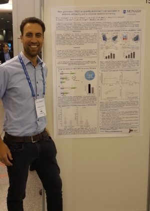 A/Prof Menno van Zelm presenting his poster titled  Next generation TREC analysis to quantify extensive memory T-cell proliferation and abnormal T-cell replication in antibody deficiency, and to improve newborn screening