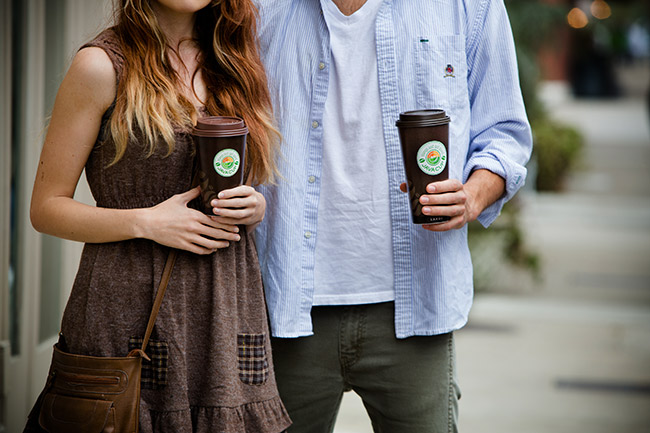 Lifestyle photography coffee cups couple teens