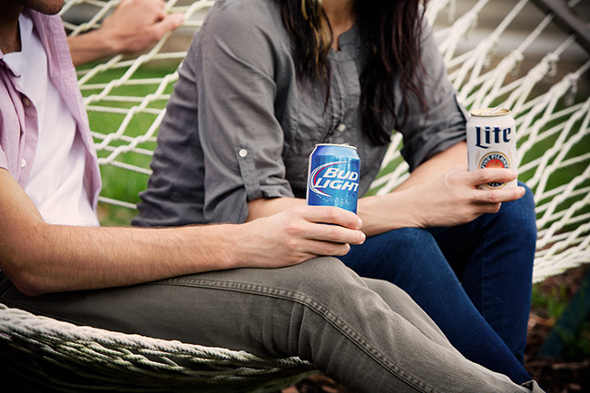Lifestyle photography beer hammock Lite Bud Light
