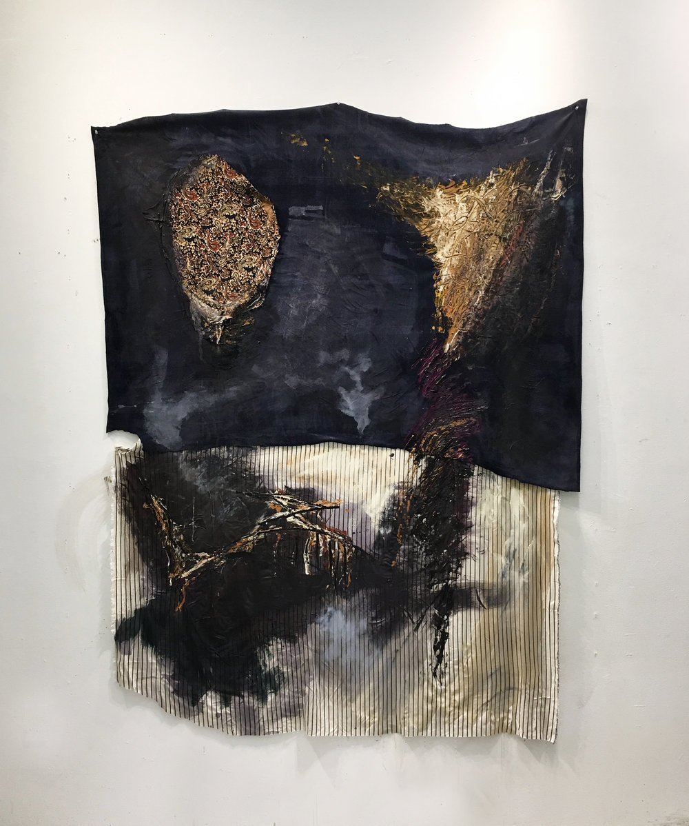 Swimming, 76x62 inches, Mixed Media (Oil and acrylic on Fabrics from Egypt, Slept On During Stay in Ma'Adi), 2018