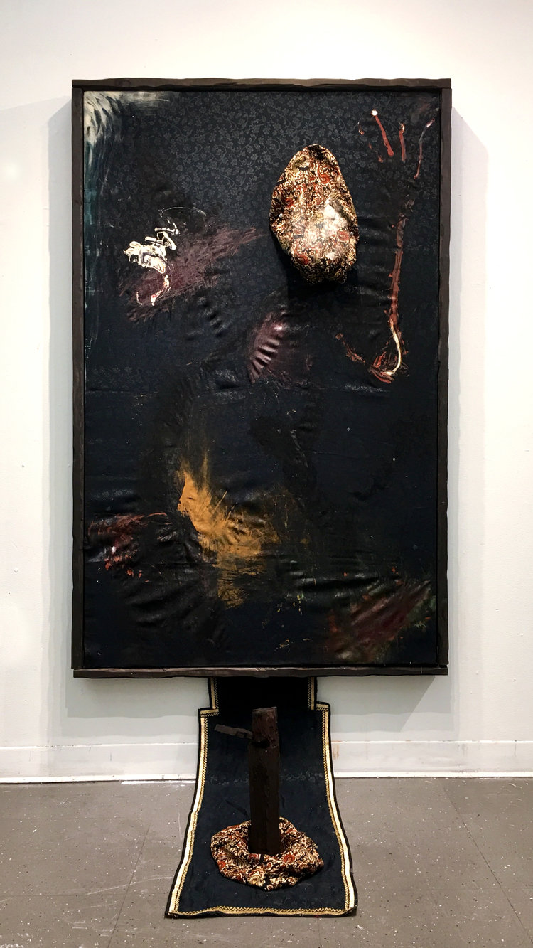 Nights In Cairo, 68x43x32 inches, Mixed Media (Egyptian Fabrics, Acrylic Paint, Carved Wooden Frame, Sculpture), 2018