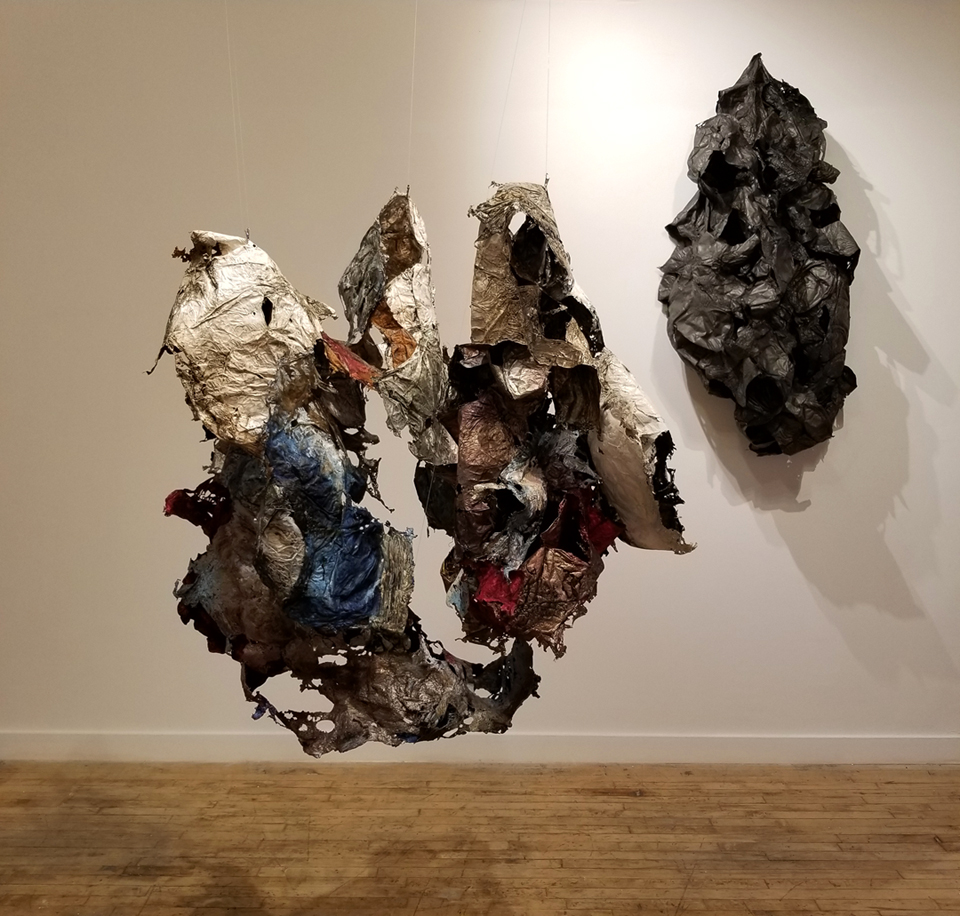 Bonny Leibowitz   Not This, Not That  2018 Installation _ size variable  Tyvek, inks, acrylic and dry pigment  Folded Residency and Exhibition with Michael David, M. David & Co., Brooklyn, NY