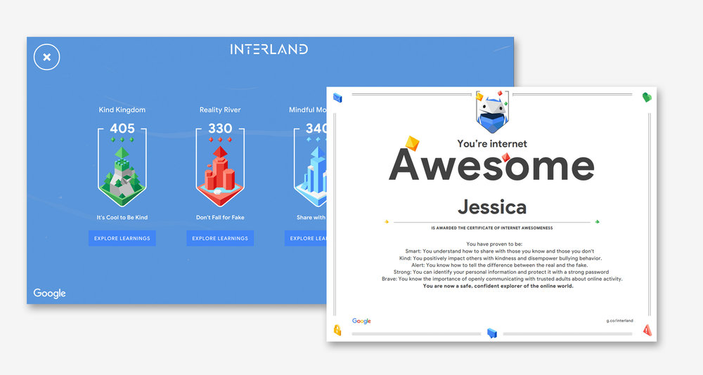 Google Game Interland Certificate