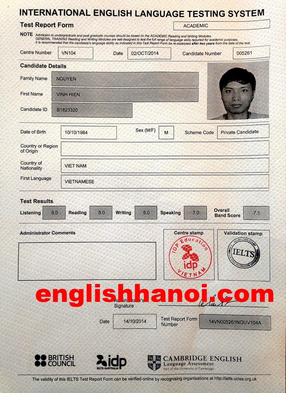 Nguyễn Vinh Hiển - Học viên IELTS Power 6.5