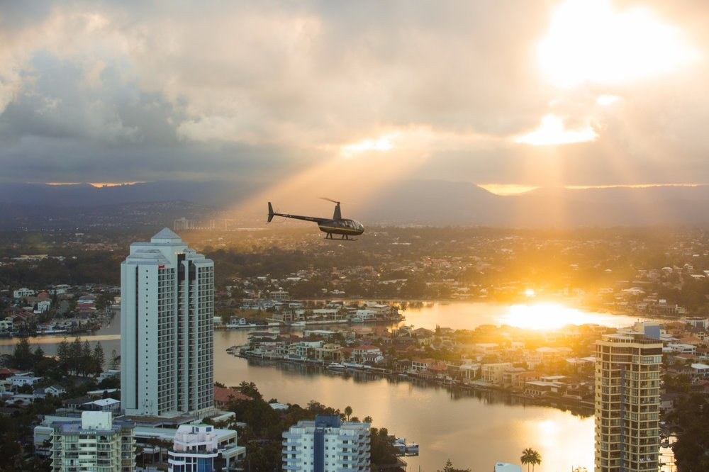 R44 Helicopter over the Gold Coast