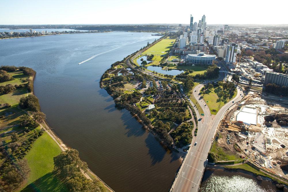 Perth & Swan River aerial