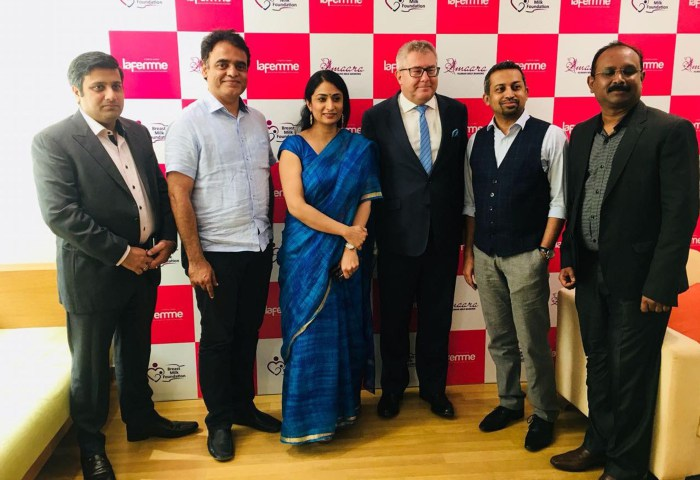Details of image ( During the launch of Amaara Milk Bank in Bangalore. L-R [Dr. Ankit Srivastava, Ms. Anika Parasha, Hon'ble Mr. Ryszard Czarnecki, Dr. Raghuram Mallaiah (Co-Founder of Amaara), Dr. Sreenath Manikanti])