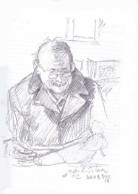 "Arnie: drawing by John Silver (enjoy John's poetry in the reading, "" Twelve Poems "")"