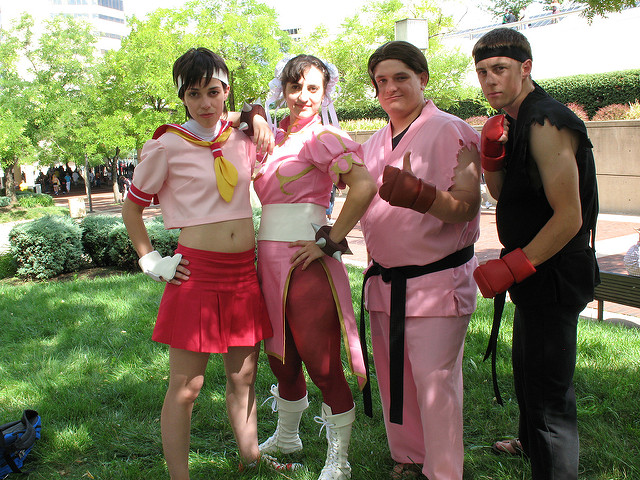Street Fighter cosplayers: Sakura, Chun-Li, Dan Hibiki, Ryu
