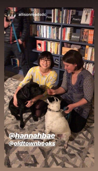 Visiting author Hannah Bae, her pup Ramona, me, and Scout!
