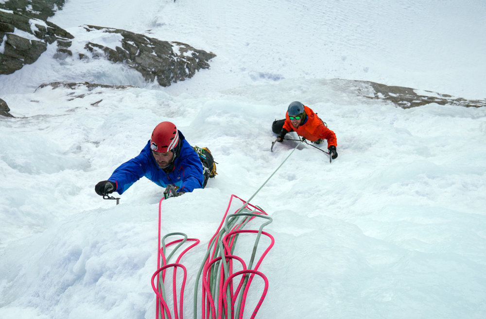 Bruce and Scott putting the training to the test on steep ice!