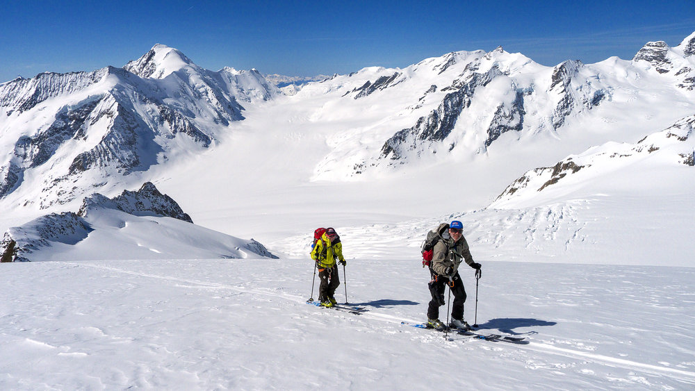 Mark and Cary ski touring high in the Bernese Alps