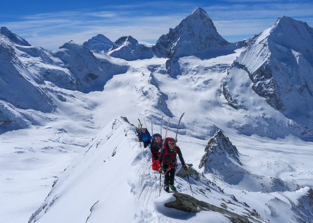 Ski mountaineering on the Blanc de Moming, Valais. The Dent Blanche dominating the view
