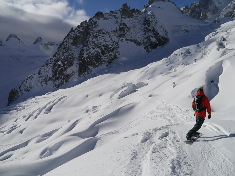 Negotiating crevassed terrain to get fresh tracks on the Petit Envers variation