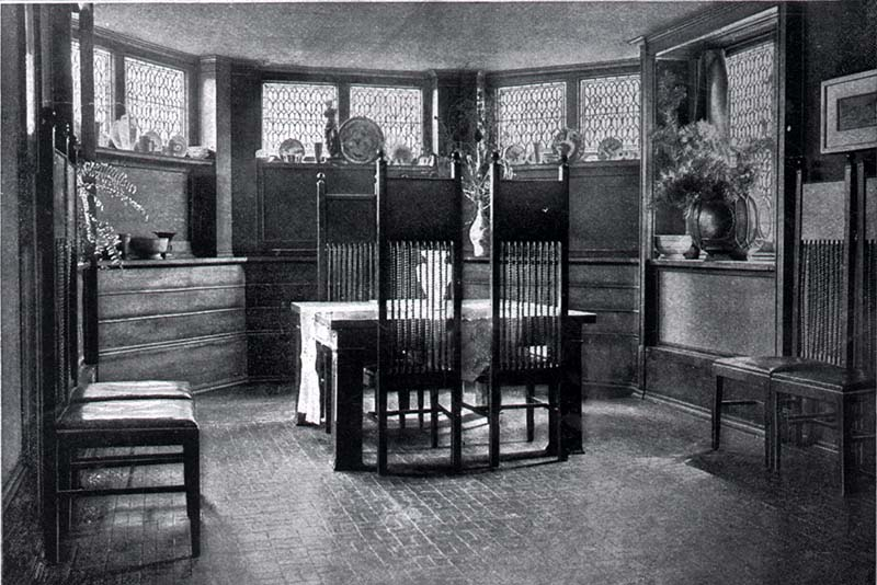 Dining suite furniture ca. 1899, Frank Lloyd Wright Home and Studio, Collection of the Frank Lloyd Wright Trust