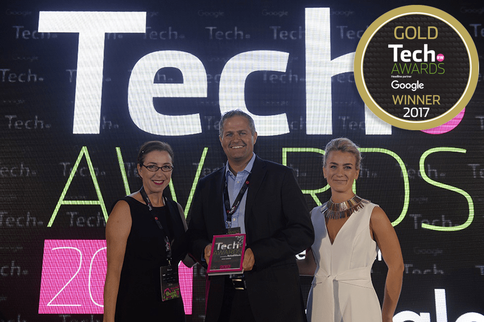 Sienne Veit, Director Online Product John Lewis presenting the award to Kealan Lennon Founder & CEO CleverGift, at Retail Week Annual Tech Awards Ceremony