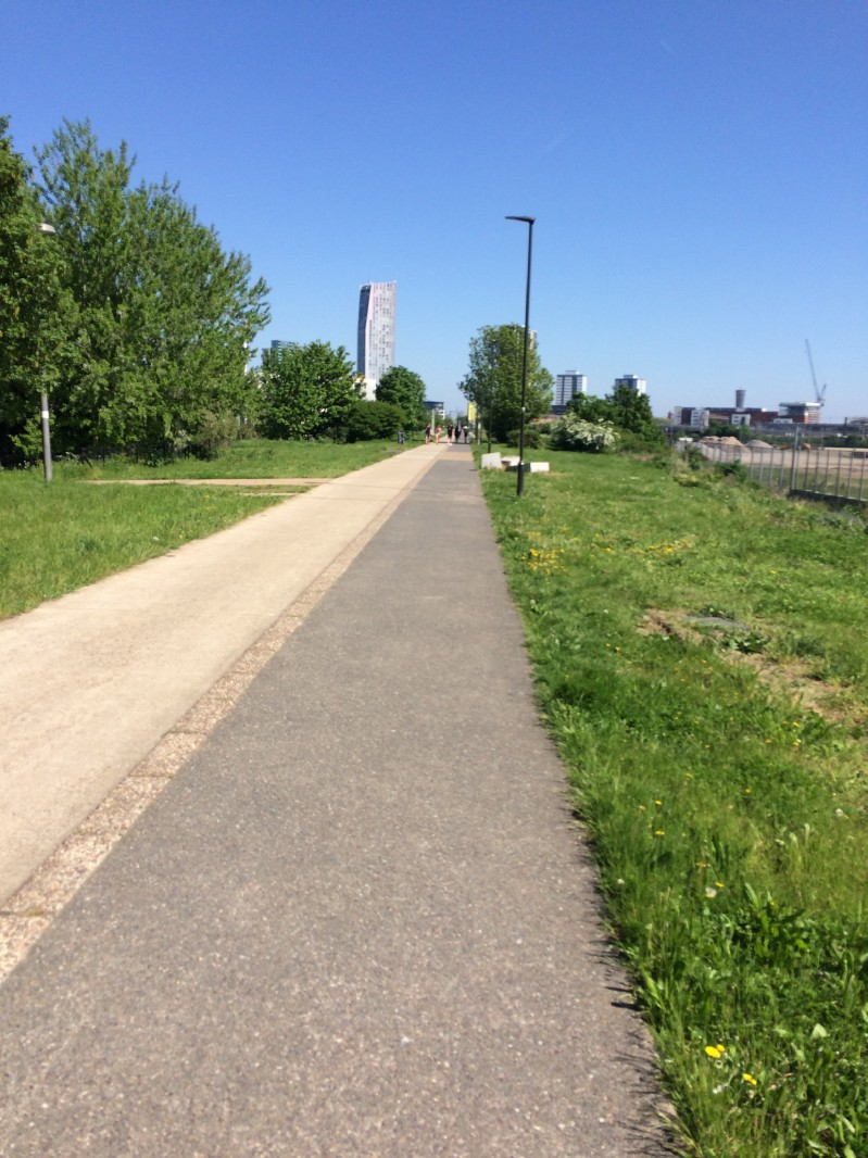 The Greenway, looking east(-south-east) from near London Stadium.