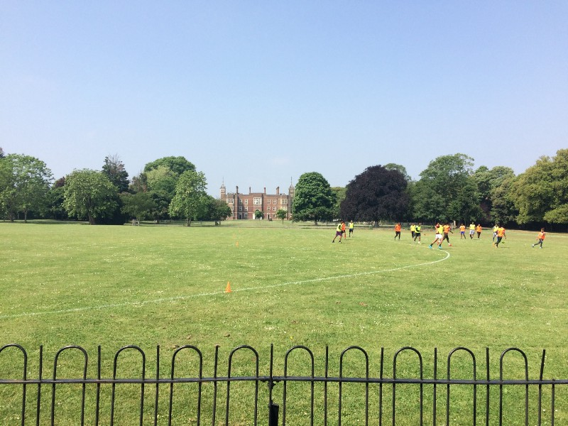 Eight-a-side on a Jacobean lawn.