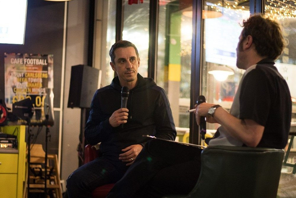 Interviewing Gary Neville, live in front of a paying audience. That's a pen, not a cig, in my left hand.