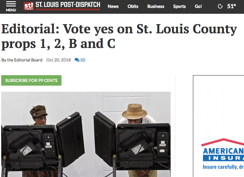 St. Louis Post Dispatch Endorses Proposition 2!