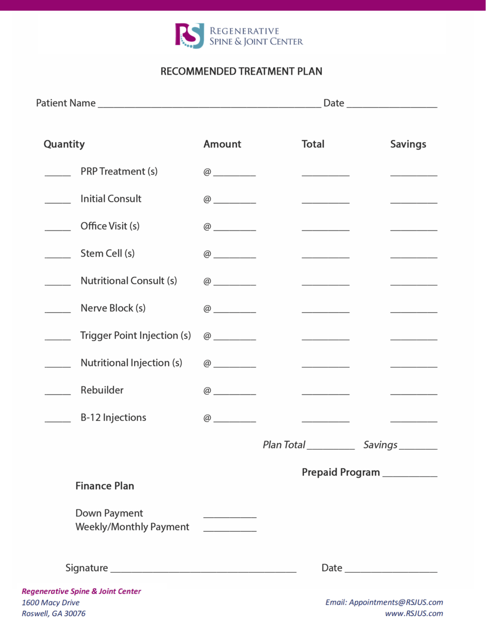 PRP Recommended Treatment Plan Form -