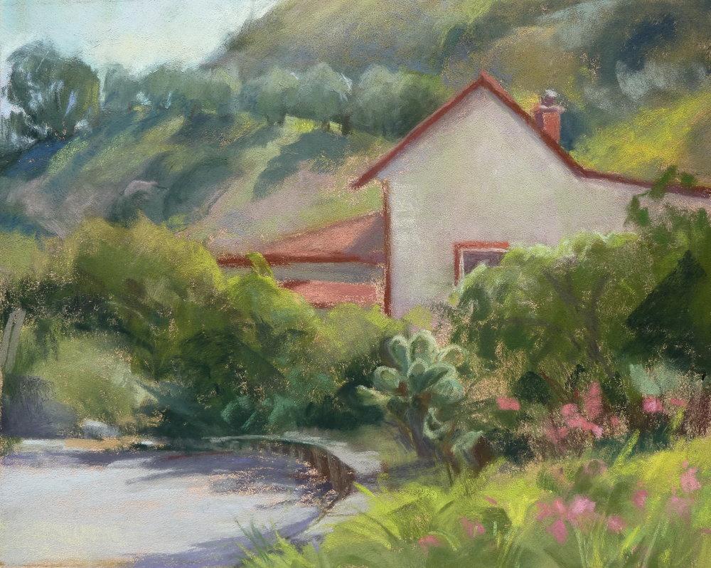 Arroyo Hondo Adobe, pastel, by Chris Chapman