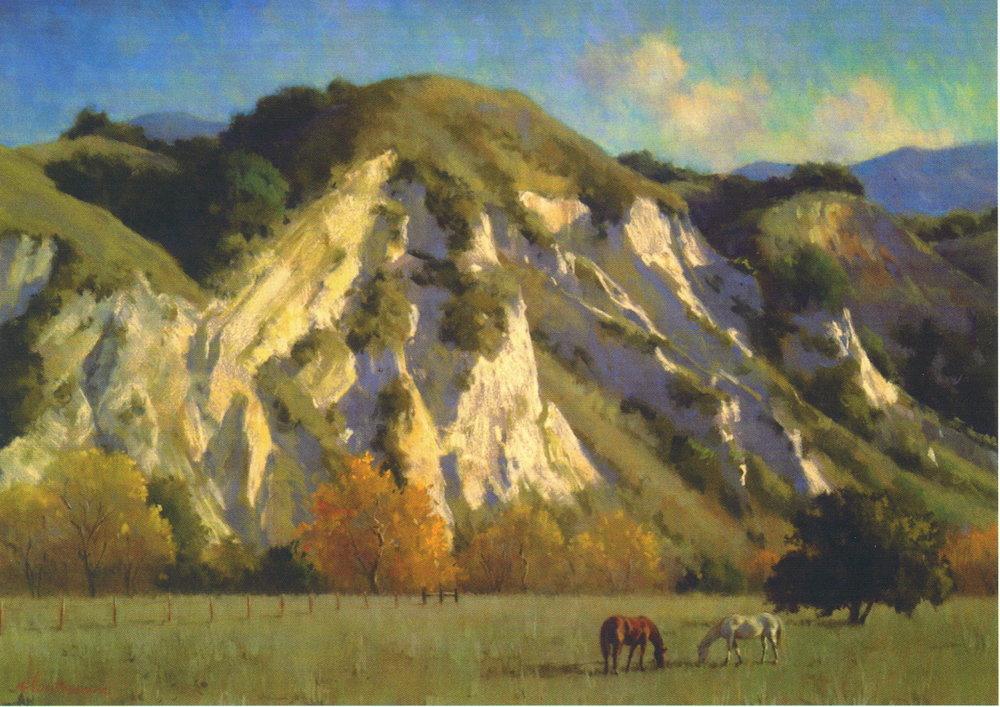 River Cliffs at San Fernando Rey, pastel, Glenna Hartmann