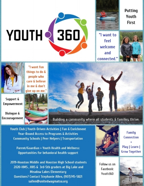 Exciting News!  - Youth 360 will launch in February of 2019. Youth 360 is an initiative to connect local youth to their peers, parents and caregivers, and community to improve health and wellness throughout the Mat-Su. Youth 360 builds connection by providing positive, meaningful activities and opportunities for young people and their families.For more information, please contact Stephanie Allen at sallen@unitedwaymatsu.org or by calling (907)745-5821.