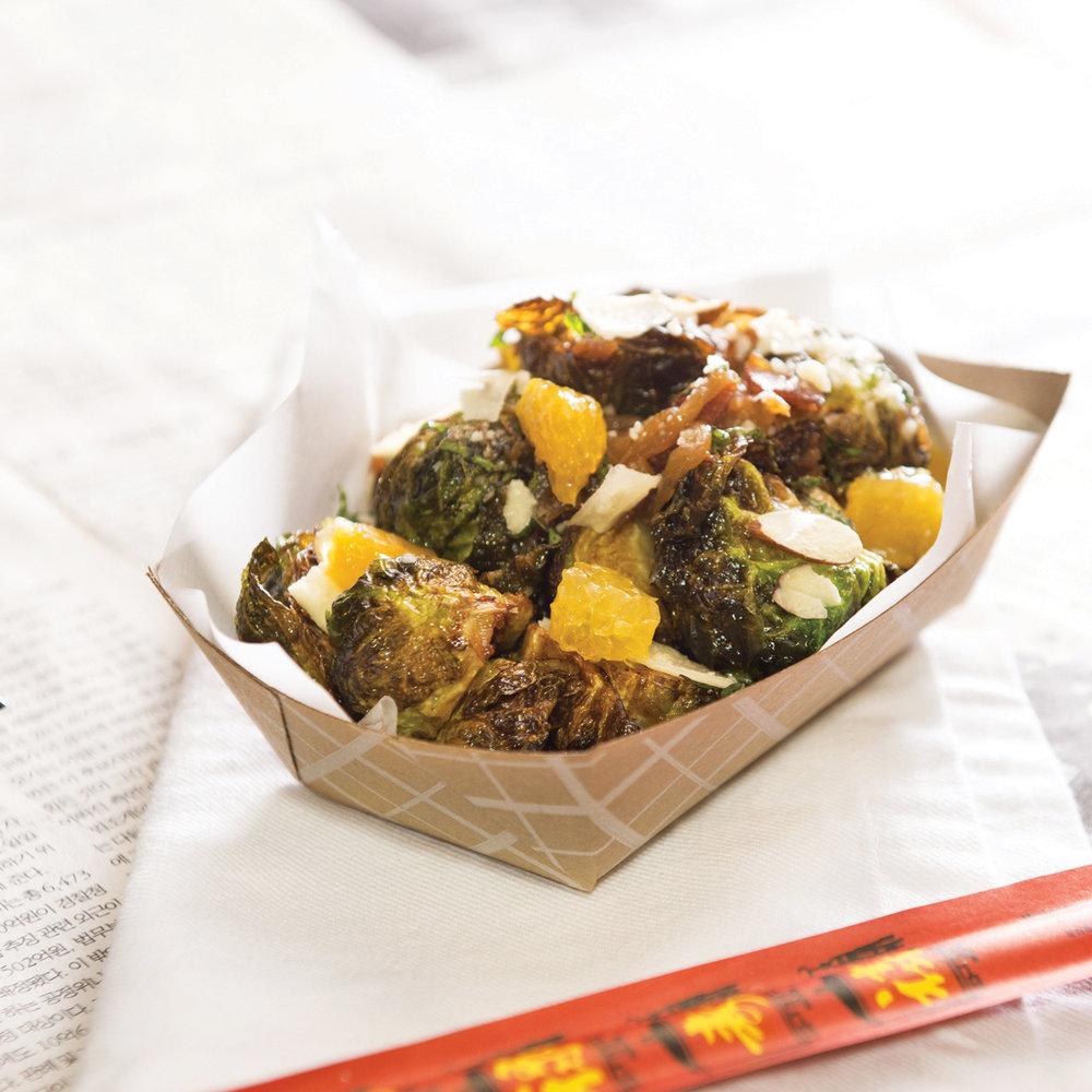 Van Damme - brussel sprouts, bacon, orange, mint, almond, parmesan, and a bacon vinaigrette