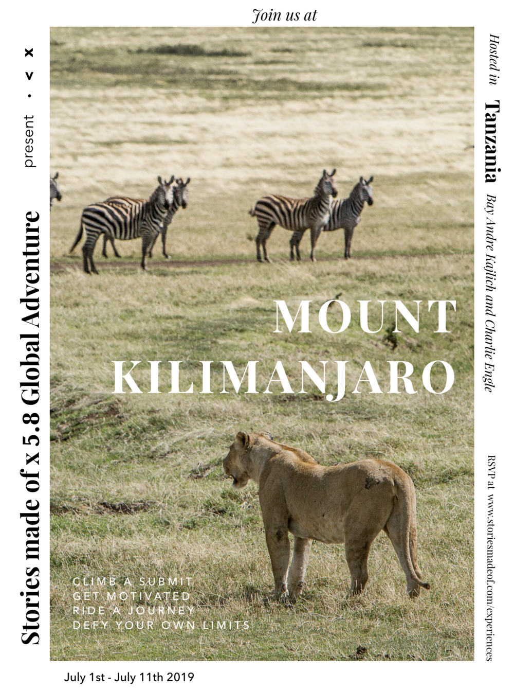 mt. kilimanjaro + safari, tanzania. - Join ultra-endurance and extreme athletes Andre Kajlich and Charlie Engle for this lifetime experience.