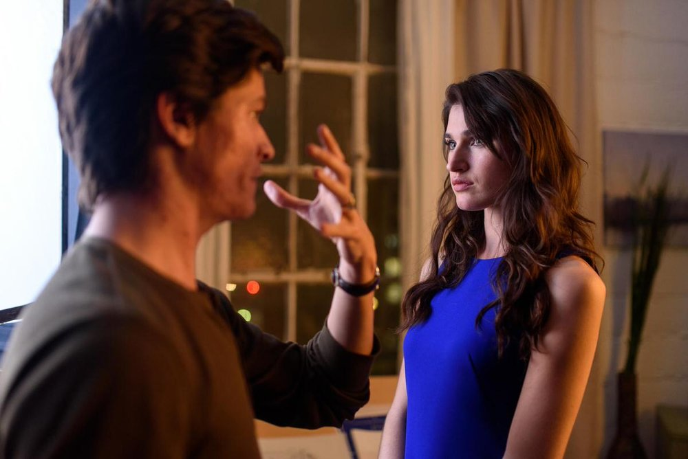 "Nicolas Wendl directing Mariah Bonner on the set of ""ELISA"""