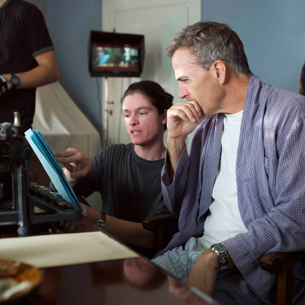 "Nicolas Wendl directing Richard Burgi on the set of ""How They Smiled"""