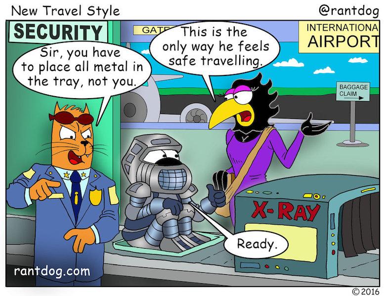 Rantdog Comic Airport Security X-Ray