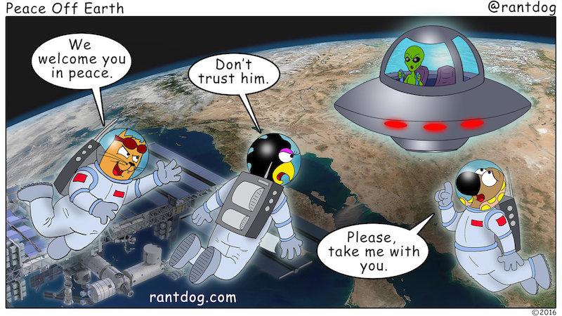 Rantdog Comic Peace Alien UFO