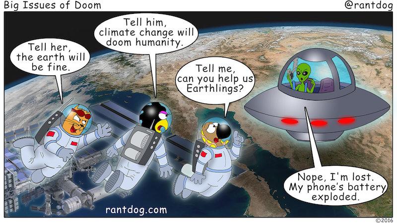 Rantdog Comic Climate Change Alien UFO
